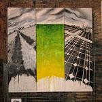 Trittico - La città ideale è dove la realtà attuale, la salvaguardia del passato, la protezione del ambiente si uniscono all'unisono e osannano l'energia pulita, per migliorare la qualità di vita (mista) 120 x 120 - 2012