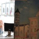 Piazza di Poschiavo (olio su tela) 30 x 60, quadro in lavorazione. Il ricavato verrà devoluto alla Casa per Anziani di Poschiavo