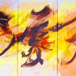 Ricordando la capoeira (trittico 120 x 80, acrilico) 2013