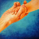AL.CHI.MIA (L'alchimia che si crea con questo gesto d'amore)  Olio e acrilico su tela 60x60 2015