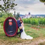 Annika und Marco in den Weinhängen von Proschwitz