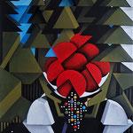 """""""Ohne dich"""" Acryl auf Holz/Leinwand, spezielles Format mit ausgesägten Dreiecken, 50x70cm"""