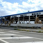 相馬港の倉庫:骨組みだけを残した無残な状態