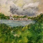 Sommerregen, Acryl auf Malpapier, 40 x 30 cm - WVZ 2021 - 01
