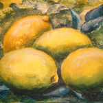 Zitronen 06/07, Acryl in Granuliertechnik auf Ölmalpapier, 40 x 30 cm