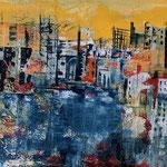 Stadt im Chaos, Acryl gespachtelt auf LW/KR, 80 x 40 x 3,5 cm - WVZ 2017-06