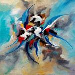 fly with me - WVZ 2017-11, Acryl auf strukturierter LW/KR, teilweise gespachtelt, 70 x 50 cm