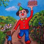 14. auf zur Geburtstagsfeier, Acryl auf LW/KR, 24 x 30 cm