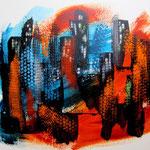 Großstadtdschungel - WVZ 2015 - 17 - Acryl auf festem Papier, 40 x 30 cm