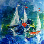 we are sailing - WVZ 2017 - 08 - Acryl gespachtelt auf Papier, 30 x 40 cm
