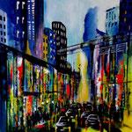city lights 8 - WVZ 2018 - 15, Acryl auf Malkarton, 40 x 40 cm
