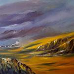 Durchzug einer Regenfront, WVZ 2016-30, Acryl auf LW/KR, 100 x 80 x 4,5 cm