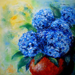 blaue Hortensien - Acryl auf LW/KR, 40 x 40 cm