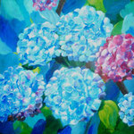 Hortensien - Acryl auf Malpappe, 50 x 50 cm