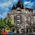 163 - Commerzbank am Olivaer Platz, Acryl auf LW/KR, 15 x 15 cm