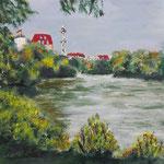 158 - Lietzensee 2, Acryl auf LW/KR 15 x 15 cm -verkauft -