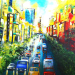 Traffic in Berlin - summer in the city- WVZ 2019 - 8, Acryl auf W/KR, 60 x 80 cm