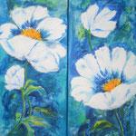 aufgeblüht - Acryl auf LW/KR, je 30 x 70 cm