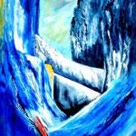 in der Felsenschlucht - Acryl auf LW/KR, 60 x 80 cm