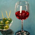 Wein und Oliven - Acryl auf LW/KR, 18 x 24 cm