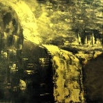 Goldstücke 2, der Absturz des Goldpreises - WVZ 2014-48 - Acryl gespachtelt auf LW/KR, 40 x 40 cm