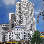 168 - Blick uf die neuen Giganten, Waldorf Astoria und Upper West, Acryl auf LW/KR, 15 x 20 cm