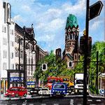 174 - Blick auf die Gedächtsniskirche, Acryl a. LW/KR, 15 x 15 cm - verkauft -