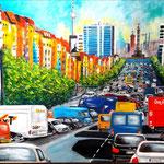 Traffic in Berlin - Kaiserdamm - Acryl auf LW/KR, 80 x 60cm, WVZ 2018-06