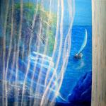 Blick aus's Meer, Acryl auf LW/KR, 40 x 40 cm