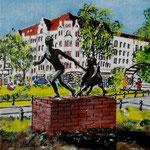 179 - Savignyplatz, der Junge mit er Ziege, Acryl auf LW/KR, 15 x 15 cm