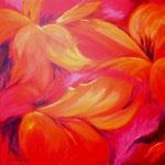 aufgeblüht -5-, Acryl auf LW/KR, 40 x 40 cm