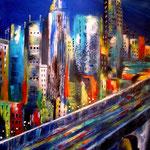 rush-hour - Acrylcollage auf Hartfaserplatte, 40 x 50 cm,