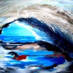 die blaue Lagune - Acryl auf strukturierter LW/KR, 50 x 40 cm