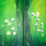 im Grünen 1+2, Acryl auf LW/KR, Diptychon je 20 x 50 cm