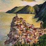 Ligutien - Vernazza, Acryl auf Papier, 40 x 30 cm - WVZ 2020-08