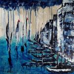 der Himmel weint, Acryl auf Leinwand/Kr, 30 x 30 cm, WVZ 2019 -02