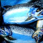 Forellen, Acryl auf LW/KR, 60 x 40 cm