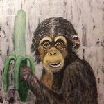 alles Banane? - WVZ 2017-02, Acryl auf strukturierter gespachtelter LW/KR, 50 x 50 cm