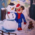 11. Schneemann bauen, Acryl auf LW/KR, 50 x 70 cm
