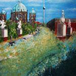 Blick zum Dom -  Acryl auf LW/KR, 40 x 50 cm