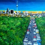 Traffic in Berlin - Straße des 17. Juni - WZV 2017-28, Acryl auf LW/KR, 60 x 40 cm