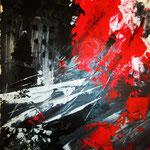 crash, Acryl gespachtelt auf starkem Papier, 30 x 40 cm