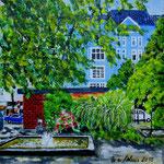 145 - Oase Olivaer Platz - Acryl auf LW/KR, 15 x 15 cm - verkauft -