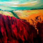 mediterrane Landschaft, Acryl auf strukturirter LW/KR, 50 x 40 cm- WVZ 2016 -29
