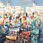 Hafenidylle, Acryl auf Leinwand/Keilrahmen, 60 x 50 cm - WVZ 2019-13