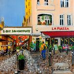 190 - Savignyplatz, Acryl auf LQ/KR, 15 x 15 cm
