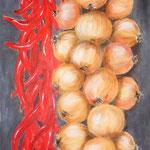 cipolle e più 1 - Acryl auf LW/KR, 30 x 80 cm