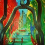 unterwegs am Tauentzien - Acryl auf LW/KR, 40 x 60 cm