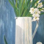 blau-weiß - Acryl auf LW/KR, 40 x 60 cm