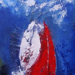 roter Drachen - WVZ 2014 -23 -Acryl gespachtelt auf LW/KR, 30 x 70 cm